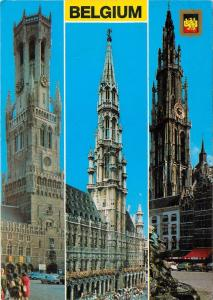Towering Cathedral Steeples old cars Belgium Postcard
