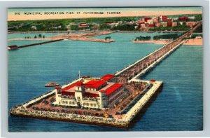St. Petersburg FL, Municipal Pier, Tampa Bay, Pavilion, Linen Florida Postcard