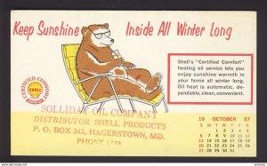 Hagerstown, MD USA - SHELL OIL logo - heating oil, bear sunglasses 1957 Oct.