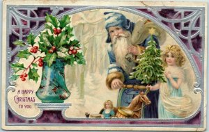 Vintage Christmas Postcard SANTA CLAUS in BLUE SUIT w/ Angel Girl Xmas Tree 1916