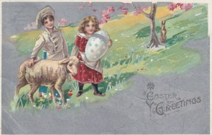 EASTER, 1900-10s; Greetings, Kids with Sheep in a meadow, decorated egg, Rabbit