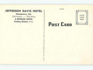 Unused Linen OLD CARS & JEFFERSON DAVIS HOTEL Montgomery Alabama AL t0411