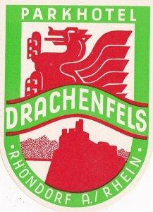 Germany Rhoendorf am Rhein Parkhotel Drachenfels Vintage Luggage Label sk2871