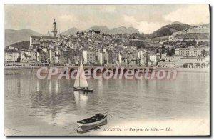 Old Postcard Menton Vue Prize Du Mole