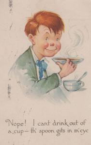 Man Drinking Soup Cup & Spoon Hitting Face Eye Cutlery Antique Comic Postcard