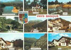 Postcard Basque Country sightseeing sites crest heraldry different aspects