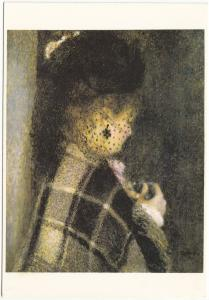 Renoir, Auguste, Jeune femme a la voilette, unused Postcard