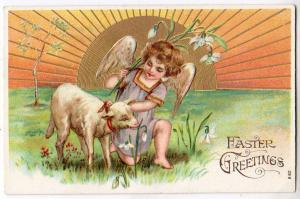 Easter - Cherub and a Lamb
