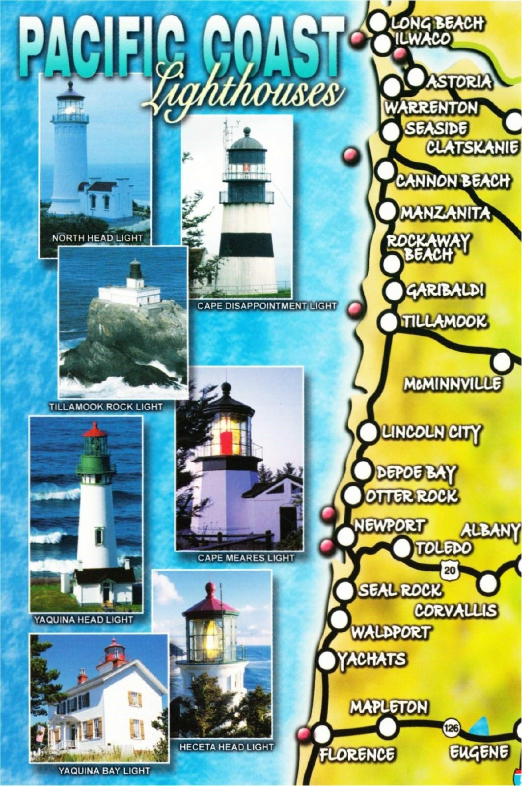 Lighthouses In Oregon Map.Postcard Of Washington And Oregon Coast Lighthouse Map Hippostcard