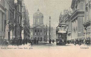 Castle Street and Town Hall, Liverpool, England, early postcard unused