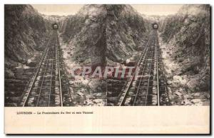 Stereoscopic Card - Lourdes - The Funicular Ger and Tunnel - Old Postcard