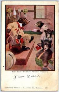 1907 J.L. Austen BUSY BEARS Postcard Learning Phoenetic Spelling w/ Cancel