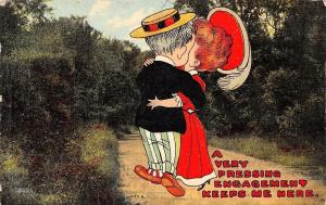 A Pressing Engagement Keep Me Here~Cartoon Couple Embrace~Lovers Lane~1910 PC