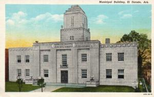 El Dorado, Arkansas, AR, Municipal Building, Linen Vintage Postcard f9753