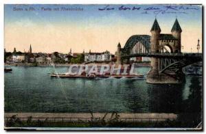 Old Postcard Bonn Rh Partle put Rheinbrucke Boat