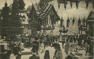 siam thailand, King Rama VI Vajiravudh during Crowning (1910) Postcard