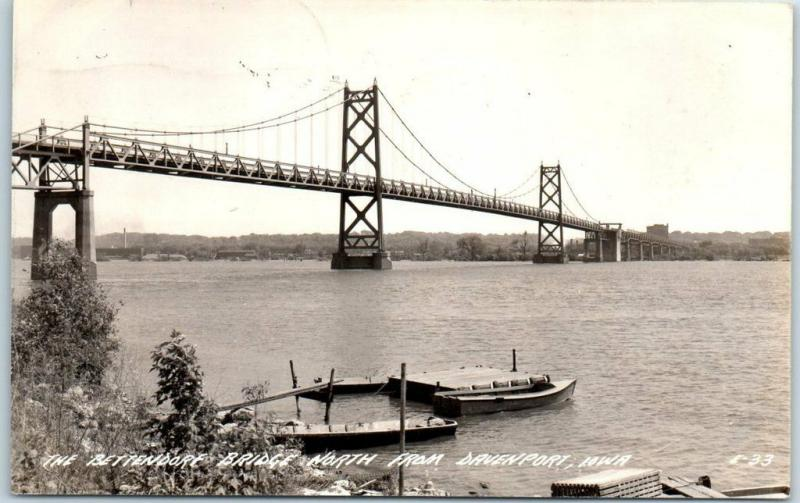 Davenport, Iowa RPPC Photo Postcard BETTENDORF BRIDGE Mississippi River 1944