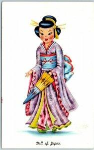 c1960s DOLL OF JAPAN Postcard Geisha Kimono Costume Dress Tichnor Chrome