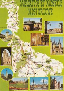 Moselle France Longuyon Jarny Map Carte Guide Tour French Postcard
