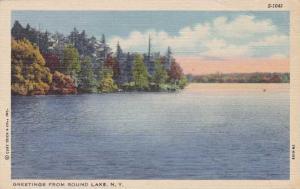 Greetings from Round Lake, New York - Adirondacks - Linen