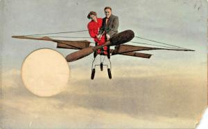 MAN & WOMAN FLYING RUDIMENTARY AIRCRAFT-HOLDER FOR ROUND ITEM-W HOFIUS POSTCARD