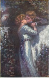 Artist Signed~Romantic Couple Kiss Over Wall~Night Light~BKWI 320-5~Austria