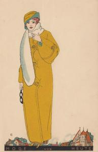 ART DECO ; Female wearing yellow rain coat with hat and white scarf, 1910-20s