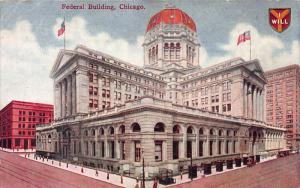 Federal Building, Chicago, Illinois, Early Postcard, Used in 1910