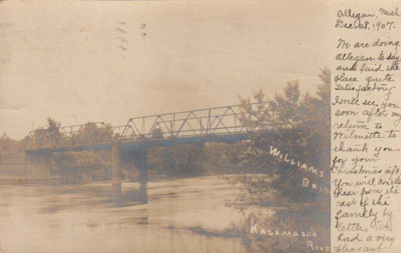 RP: ALLEGAN , Michigan , 1907 ; Williams Bridge , Kalamaso River