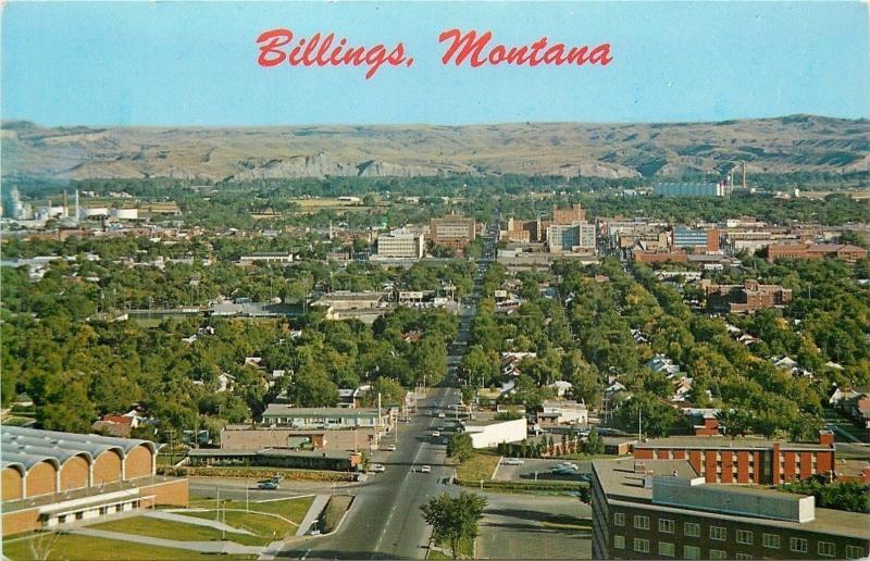 Billings MT~Aerial View of Business District~Hub of the Midland Empire~1960s