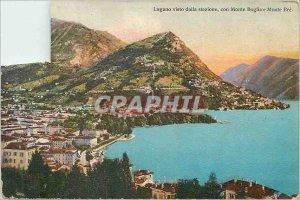 Old Postcard Lugano visto dalla stazione con Monte Boglia e monte bre