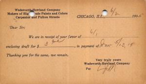 Chicago to Henry IL~Wadsworth Howland Co~High Grade Paints~1915 Postal Receipt