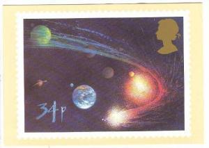 UK Halley's Comet Stamp Postcard 1986 , 34p