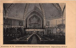 E83/ Moundsville West Virginia Postcard 1909 First M.E. Church Interior