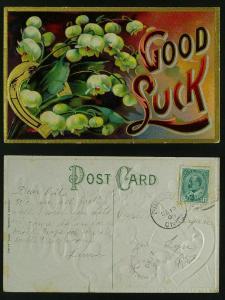 New year Good Luck pmk prescott - Lyn Ont 1909 closed tear