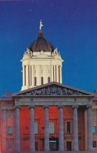 Canada Manitoba Winnipeg Parliament Buildings At Night
