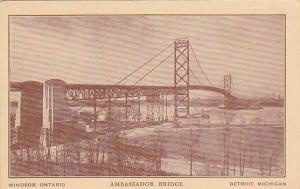 Ambassador Bridge connecting Windsor, Ontario Canada with Detroit, Michigan, ...