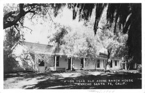 Rancho Santa Fe California~150 Year Old Adobe Ranch House~1940s Real Photo~RPPC