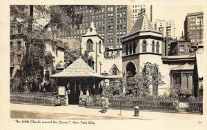 New York NY The Little Church around the Corner, real photo postcard.