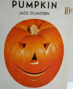 Halloween Goblin Head Pumpkin JOL Creepy Art Lone Star Seed Pack 1950s Vintage