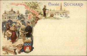 French Chocolate Adv SUCHARD CACAO Street View & Eiffel Tower c1900 Postcard