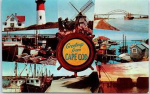 CAPE COD Massachusetts Postcard Multi-View 8 Scenes Dexter Chrome c1960s Unused