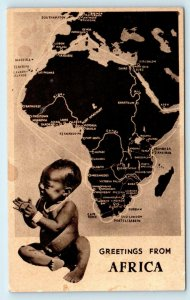 MAP POSTCARD of AFRICA ~ Cute BABY c1930s Published by Newman Art Co of CAPETOWN