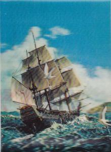 3D Sailing Vessel in choppy water, Sea Gulls Flying, 50-70s