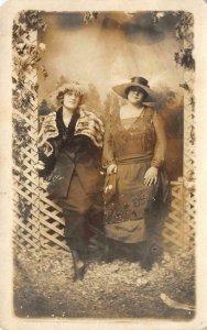 RPPC 2 Edwardian-Era Women Studio Photo Hats c1910s Vintage Postcard