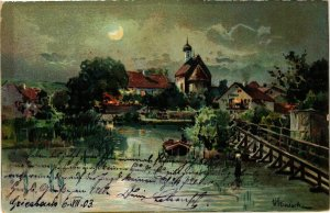 CPA AK Village Scene with a Lake - Bayern GERMANY (919916)