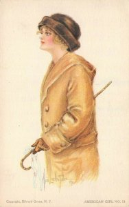 LP50 Artist Signed Fidler Postcard Pretty Woman American Girl No.14 Brown Coat