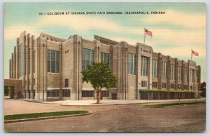 Indianapolis Indiana~State Fair Grounds Coliseum~WPA Art Deco~1940s Linen PC