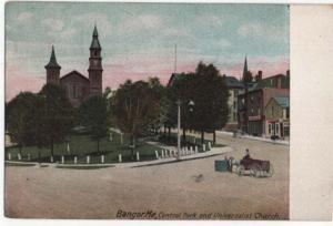 Bangor, Maine, View of Central Park & Universalist Church, 1907