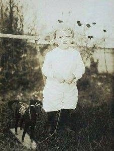 1900's RPPC Postcard Child With American Folk Art Black Horse Pull Toy